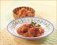 鶏肉の照り煮とたけのこトマトソース